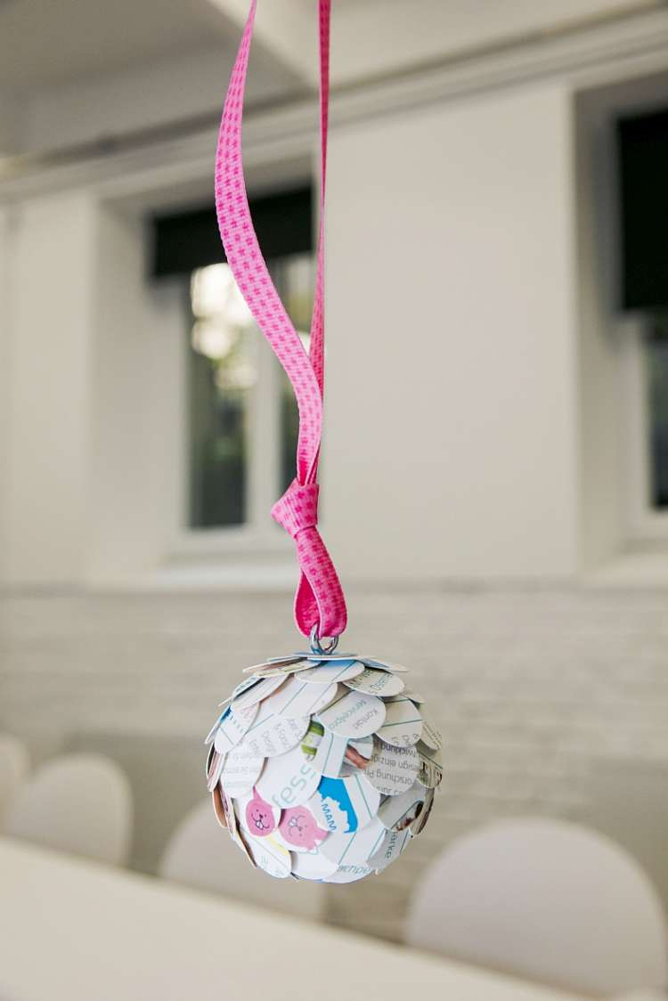 Craft idea, Christmas bauble made from MAM packaging material