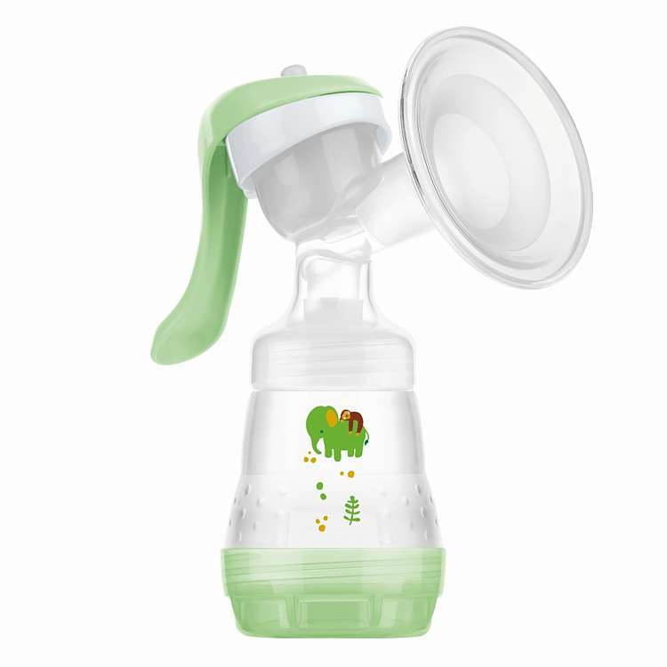 Picture of a MAM manual breast pump in Green
