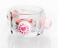 Upcycling idea Tea-light holder decorated with soother shields