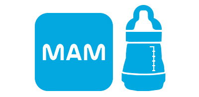 Icon Easy Start Anti-Colic Flasche neben MAM Logo