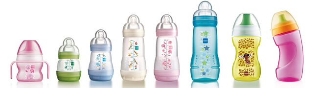 Various MAM bottles and cups in different sizes and colours
