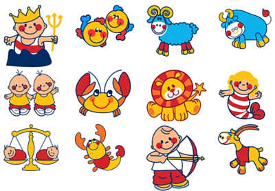 Illustrated star sign symbols with babies