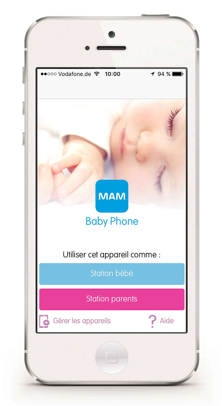 Smartphone showing the start screen for the MAM Baby Phone app