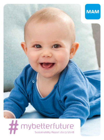 Cover of the MAM Sustainability Report 2017 2018 featuring a laughing baby
