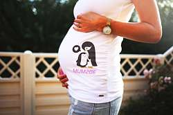 Pregnant woman outdoors wears a white shirt over her belly showing a mother penguin with a baby penguin