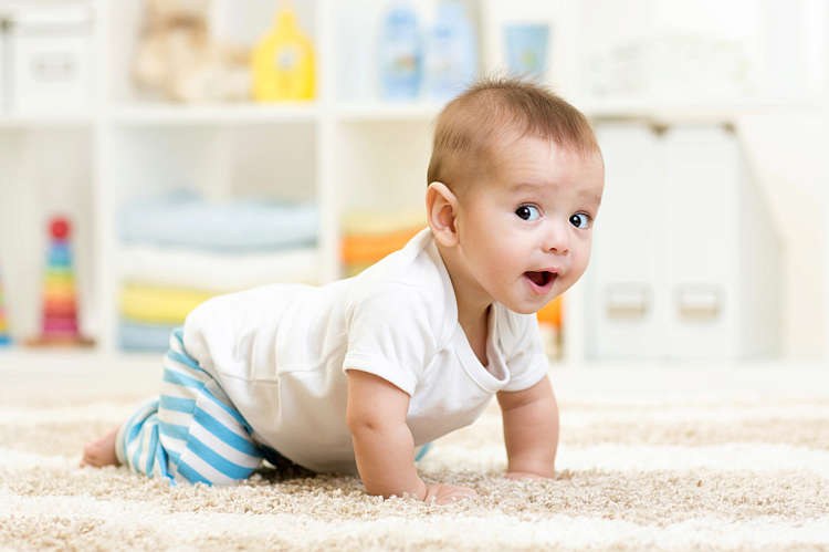 A baby aged between 7 and 9 months crawls on the floor and looks around inquisitively