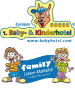 Illustration of happy children and the logo of Europe's no. 1 hotel for babies and children