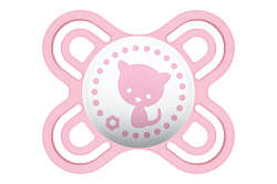 Picture of a pink MAM Perfect soother with cat design