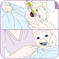 Graphic showing the correct technique for parents cleaning their baby's teeth
